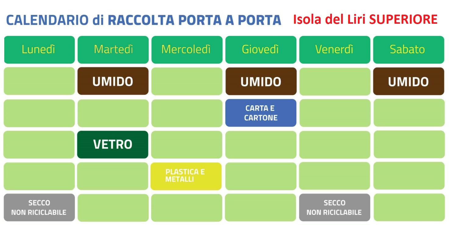 calendario raccolta differenziata Superiore